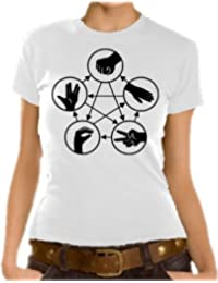 Big Bang Theory - stone paper scissors lizard spock Girlie T-Shirt XS-XL diff. Color