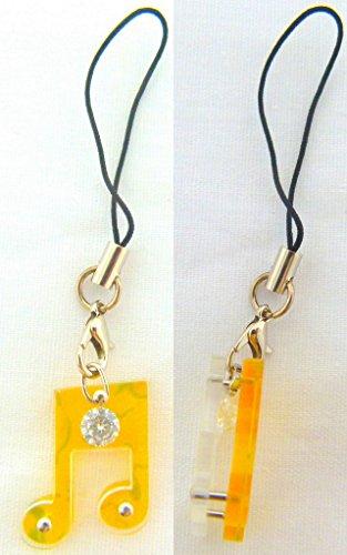 Musica a tema giallo Ottava Nota con Diamante Phone Strap / Dangly fascino del telefono - Musica Nota Charm