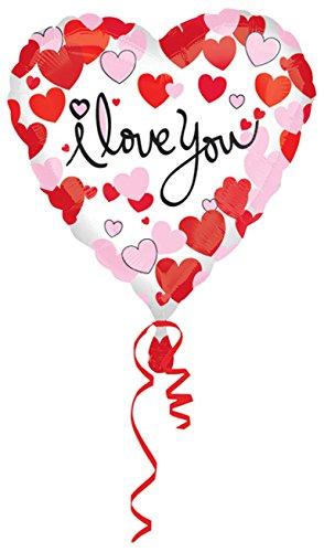* I LOVE YOU * in Herz-Form für Valentinstag oder einen romantischen Anlass // Ich liebe dich Metallfolie Helium Ballon (1 Stück) ()