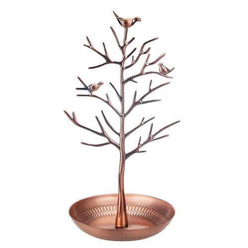 OOCOME Schmuckständer Antik Vögel Baum Schmuck Ohrring Halskette Ausstellungsstand Schmuck Display (Die Bronzefarbe) (Antiken Schmuck Lagerung)