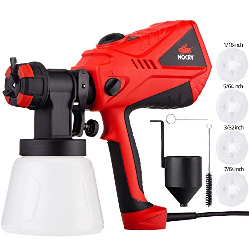 NoCry 1200ml/min Electric Paint Sprayer - 600W Motor, 100 DIN/s Max Viscosity, Adjustable Air and Paint Flow Controls, 1000ml Container, 3 Spray Patterns; 4 Nozzles Included