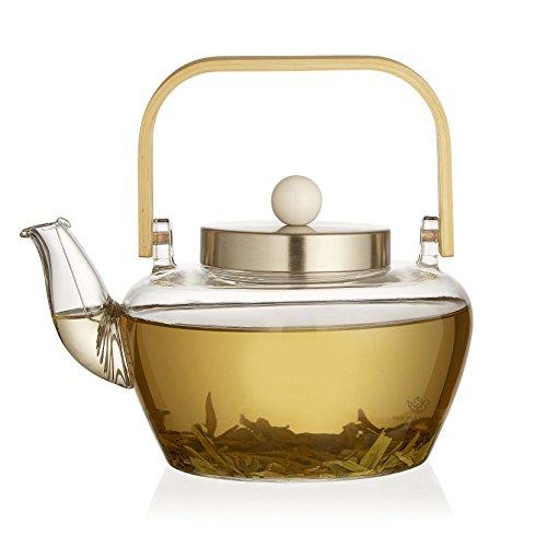 The Tea Makers of London Théière en verre avec infuseur en verre et bobine filtre avec poignée en bambou 1000 ml