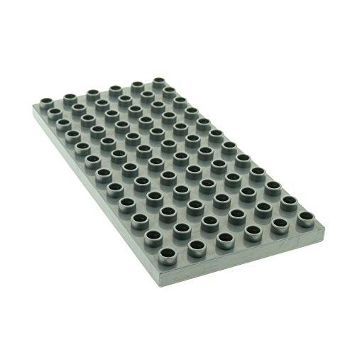 1 x Lego Duplo Bau Basic Platte perl hell silber grau 12 x 6 Noppen 6x12 Grundplatte für Set Intelli-Train 3325 4196 - Graue Lego Platte Bau