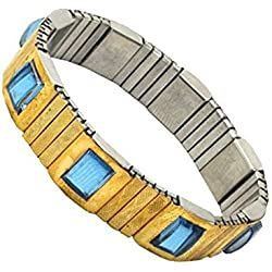 Maxeon Magnetic Original Metal Men Flexible Magnetic Bracelet - MXE-Magnetic-Bp-Belt-Men (Golden)