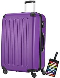 Hauptstadtkoffer® Valigia (128 litri) con un lucchetto TSA Seria SPREE (Colore Viola con 1 ciondolo per la valigia)