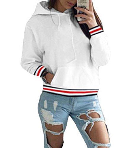 ASSKDAN Damen Kapuzenpullover Sweatshirts Hoodie Sport Oversize Outerwear Pullover Herbst (36, Weiß)