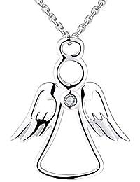4041eab459a2 Farjary - Collar con colgante de ángel de la guarda de metal de plata de  ley 925 con una circonita cúbica y collar de…