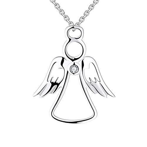 FJ 925 Silber Metall Schutzengel Anhänger Halskette mit Zirkonia 45 cm Halskette für Damen
