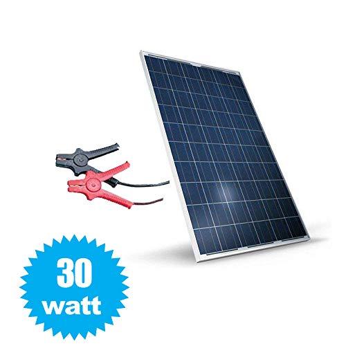 081 store - pannello solare fotovoltaico celle silicio 30 w watt 12v pinze batteria