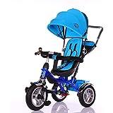 Little Bambino 4 in 1 Triciclo con Parasole per Bambini da 1 a 6 Anni di età | Triciclo e Bici a Spinta con Maniglia (Blu)