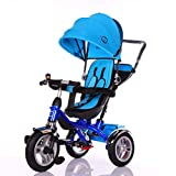 Little Bambino 4 in 1 Canopy Kids Tricycle for Toddler Age 1-6 Years | Trike 'n Ride Bike Push Handle Buggy Pram - Blue