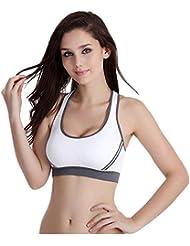 HARRYSTORE 2017 Nuevas mujeres acolchadas Bra Top Athletic Vest Gimnasio Fitness Deportes Yoga Stretch (Blanco, L)