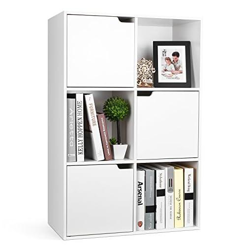 Cubi Di Legno Scaffale.Homfa Libreria Mobile Per Archiviazione Con Mensola In Legno