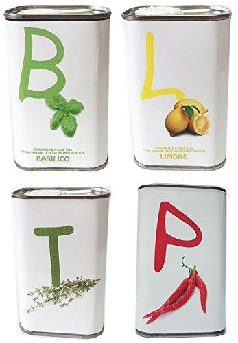 Veredelte Olivenöle extra vergine Tenuta Sant'Ilario - 4 Dosen à 250 ml (Basilikum, Limone, Thymian, Peperoncini)