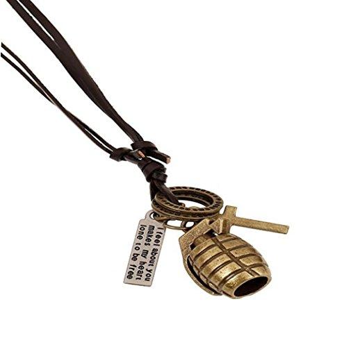Wangjianfeng Grenade Retro Leder verstellbare Größe Punk lange Halskette , Bronze (Cross Verstellbare Leder Halskette)