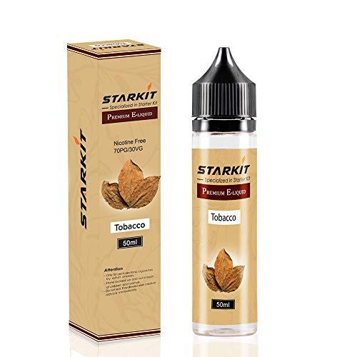 STARKIT E Liquids 1 X 50ml with 60ml Flasche, Shortfill Bottles,Tabak Geschmack für E Zigarette Starter Set SMOK E Shisha, E-Liquids Aroma PG70/VG30 Ohne Nikotin (Tabak)