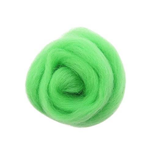 D DOLITY Handgemachte 10g Wolle Roving Faser Für Nadelfilz Materialien - Minze, 11 x 8 cm -