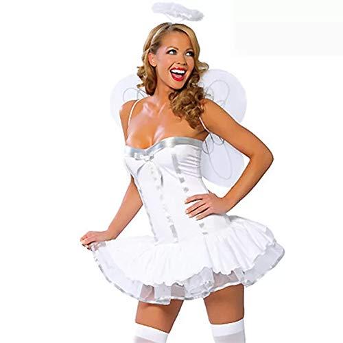 thematys Sexy weißer Engel Kostüm-Set für Damen - perfekt für Cosplay, Karneval & Halloween - Einheitsgröße 160-180cm (Engel Kostüme Frauen)