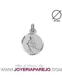 Medalla Acuario Signo Redonda Plata de Ley 925Mls. 20Mm.