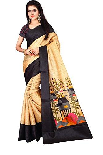 Dhruvi Trendz Women's Cotton Silk Printed Saree With Blouse Piece Material (Black-Gold,...