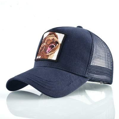 qqyz2323 Fashion Animals Stickerei Baseball Caps Männer Frauen Snapback Hip Hop Hat Summer Breathable Mesh Sun Gorras Unisex Streetwear Bone Blauer Bär