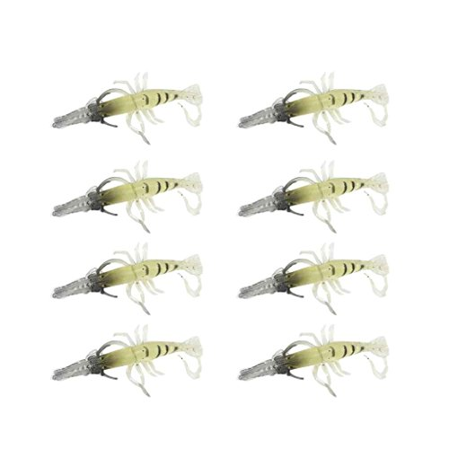 F-blue 10pcs Simulation en Plastique Souple Noctilucent Prawn Pêche à la crevette Lure Crochet Appât