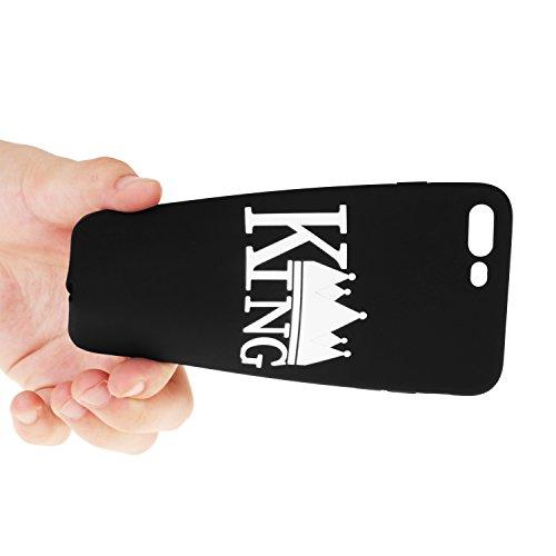 Cuitan Paare Frosted TPU Weich Schutzhülle für Apple iPhone 7 plus (5,5 Zoll), Königin Krone Design Anti-Scratch Rück Abdeckung Case Cover Hülle Handytasche Rückseite Tasche Handyhülle Schutzhülle für König Krone