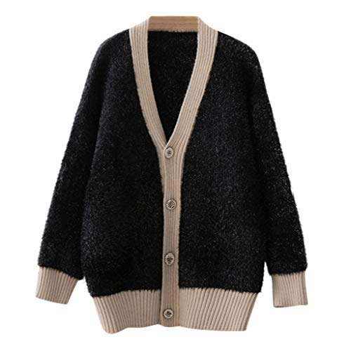 Floweworld Damen Mantel Colorblock Langarm Strickjacke Mantel lässig einfarbig Winter lose Taste Outwear Frauen Pullover Mantel -