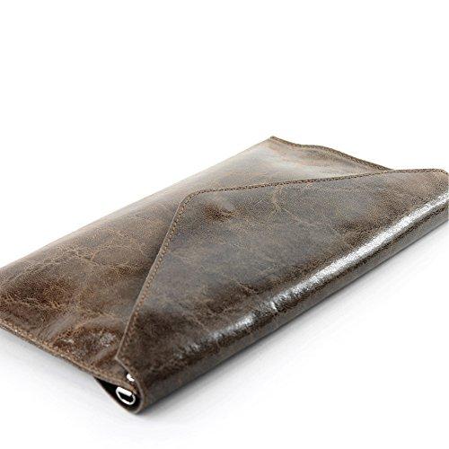 modamoda de - Made in Italy T106G Pochette in pelle liscia, da donna marrone terra