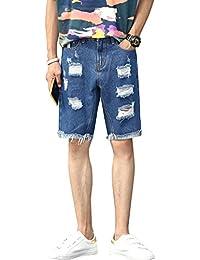 Yiiquanan Hombre Casual Vintage Rectos Locomotora Jeans Slim Fit Pantalones de Mezclilla