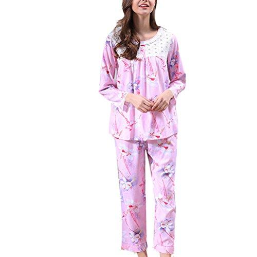Zhhlaixing Unique Design Womens Loose Pyjama Set Comfortable Printing Sleepwear Pink