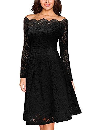 Miusol Damen Vintage 1950er Off Schulter Cocktailkleid Retro Spitzen Schwingen Pinup Rockabilly Kleid Schwarz Gr.S