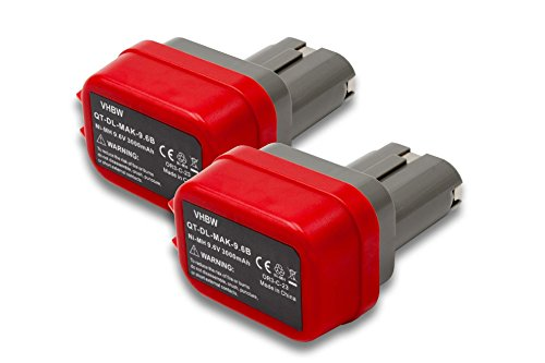 Preisvergleich Produktbild vhbw 2x NiMH Akku 3000mAh (9.6V) für Elektrowerkzeug Werkzeug Powertools Tools Makita 1022DW, 6014DW, 6200D, 6200DW, 6201D, 6201DW, 6201DWH