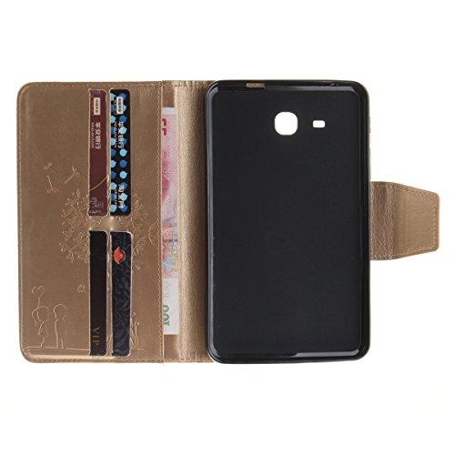 Coque Samsung Galaxy Tab A 7.0 T280 à Rabat avec Support,Samsung Galaxy Tab A 7.0 Étui Housse,Ekakashop Jolie Motif Couple de Pissenlit Rose Rouge PU Cuir Protecteur Shell Tablette Couverture Filp Cas D'or