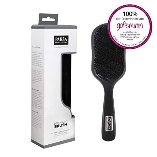 PARSA Detangling Brush 300-1 - Antistatische Entwirrbürste Haarbürste aus Naturborsten mit Keratin und Aktivkohle angereichert für extra Glanz und sanftes Entwirren und Pflege -