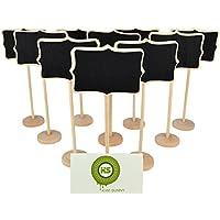 Bcony Irregular mini Pizarra pizarrón Madera WordPad de tableros de mensajes para fiesta boda Número de mesa/tarjeta de lugar el establecimiento de decoración, juego de 10