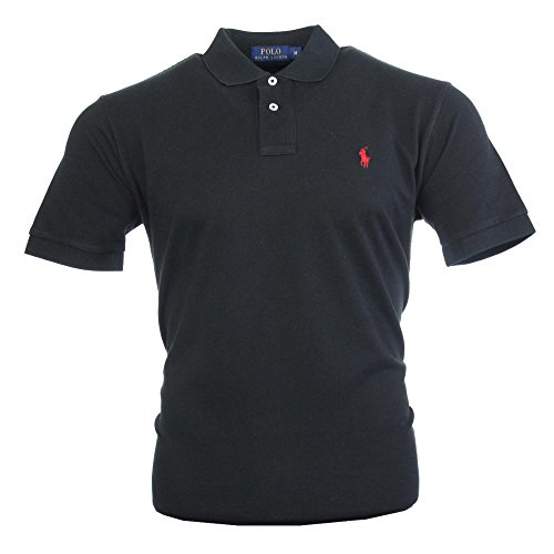 Ralph Lauren Herren Kurzarm Polo Shirt Mesh Fit (Schwarz, XXL) (Herren Ralph Lauren Polo Schwarz)