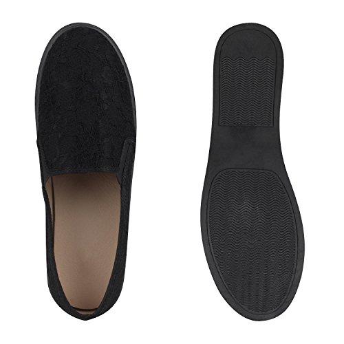Helle Slipper Schwarz Damen Flache Spitzen ons Sohle Slip Sneakers S4qtOxa