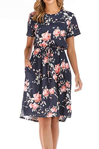 Yidarton Damen Sommer Kleid Kurzarm Blumendruck Patchwork Casual Plissee Midikleid mit Taschen, Marine3, XXL -