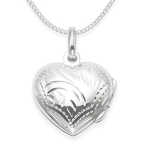 925 plata esterlina colgante de corazón con grabado 45,72 cm de cadena de plata. Tamaño: 17 mm x 15 mm. Caja de
