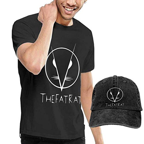 SOTTK Herren Kurzarmshirt Mens Particular TheFatRat T-Shirt and Washed Denim Hat Casquette Black