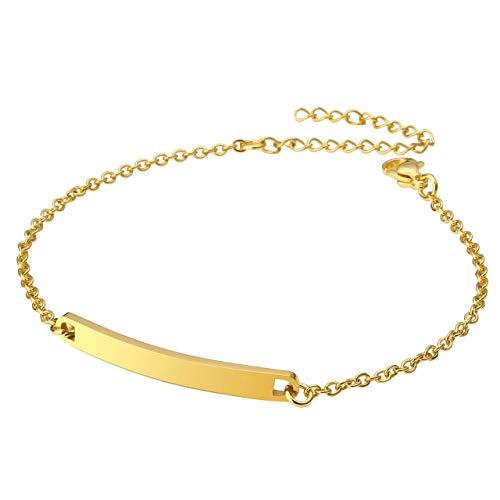 PiercingJ Personalized Gravur Edelstahl Glatt ID Tag Name Bar Armband für Frauen Mädchen, Silber/Gold/Rosegold (Gold#01, mit Gravur) (Schmuck-box Monogramm)