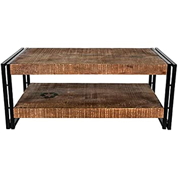 This Item Homescapes Columbus Large Coffee Table Cum TV Unit With Storage  Shelf Industrial Reclaimed Wood Furniture