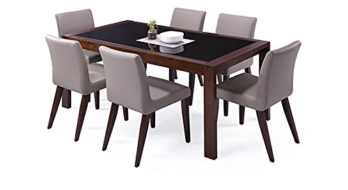 Urban Ladder Vanalen 6-to-8 Extendable - Persica Six Seater Dining Table Set (Mahogany)