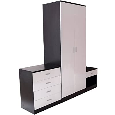 Homcom High Gloss 3 Piece Trio Bedroom Furniture Set Wardrobe + Chest + Bedside Black & White - cheap UK light shop.