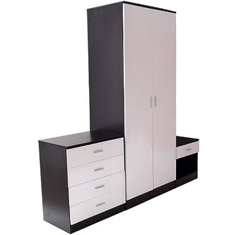 Homcom High Gloss 3 Piece Trio Bedroom Furniture Set Wardrobe + Chest + Bedside Black & White