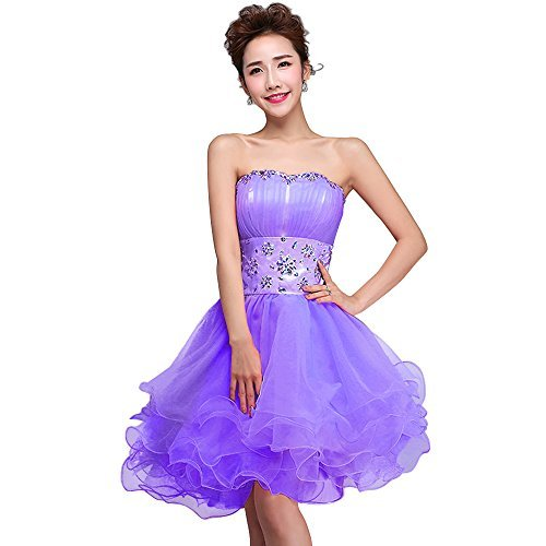 FAIRY COUPLE Tuell Mini A-Linie Kristall Brautjungfern Party Cocktailkleid D0130 Flieder