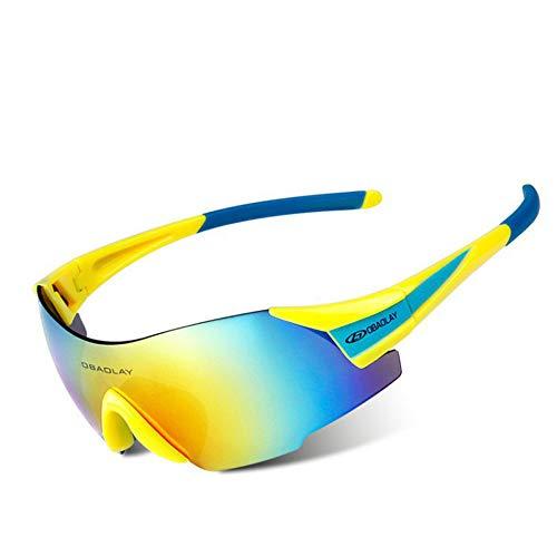 AUMING UV400 Sport-Sonnenbrille, polarisiert, Sportsonnenbrille, Superleichter Rahmen, für Herren und Damen, zum Laufen, Radfahren, Skifahren, Snowboarden. Yellow Blue