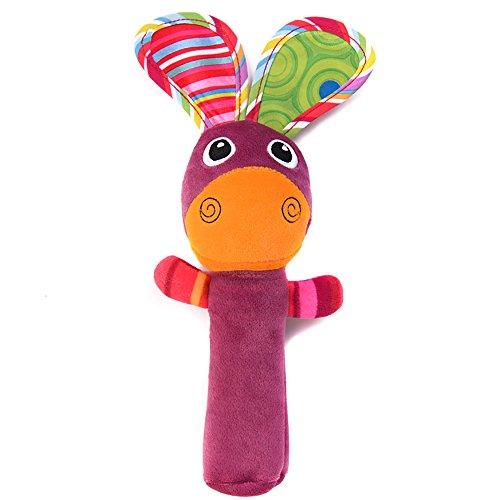Ruiting 1 Stücke Neugeborenen Baby Rassel Spielzeug Niedlichen Tier Glocke Plüsch Handbells Plüschtier Halloween Weihnacht Geschenk(Esel)