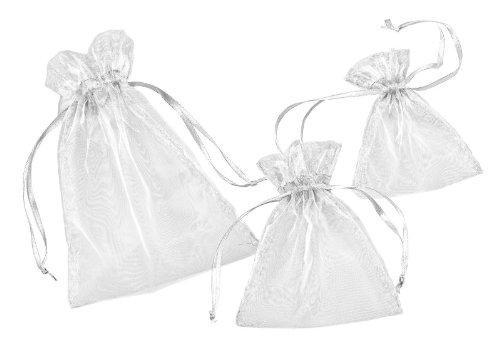 Weiße Organza-Säckchen, 13 x 10 cm, 12er-Pack